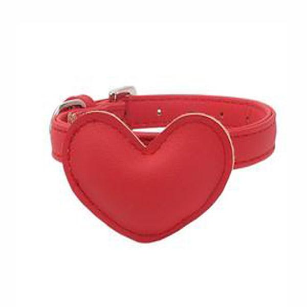 Mascotienda-Collar-piel-corazón-rojo