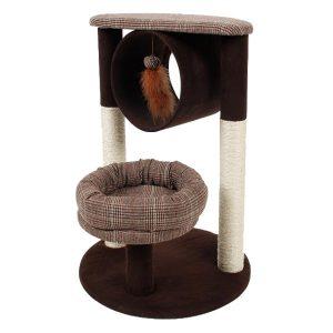 Mascotienda-Rascador-Gato-Brown-con-cama-y-túnel